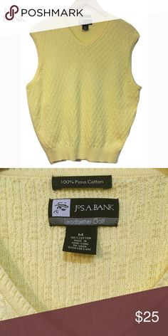 Jos A Bank Yellow Golf Sweater Vest Sz M Jos. A. Bank Leadbetter Golf V-neck Vest  Pastel Yellow Medium  Great like new condition Chest 25 inches  100% Pima Cotton Jos A Banks Sweaters V-Neck