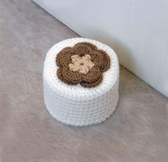 Cottage Rose Crochet Toilet Paper Cover, Brown Flower, White Cozy, Storage, Bathroom Decor by NutmegCottage on Etsy