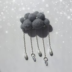 Rainy Cloud Brooch. Grey Needle Felted Natural Wool Pin. Handmade ooak. Beaded with pearls and diamonds Stuffed Gray Nature Ornament Jewelry
