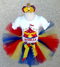 Embroidered Red Yellow and Blue Circus Birthday Outfit For Girls… Carnival Girl, Carnival Themed Party, Carnival Outfits, Carnival Birthday Parties, Carnival Themes, Circus Birthday, Birthday Tutu, 1st Birthday Girls, Birthday Ideas