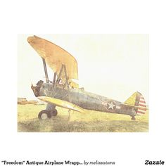 """""""Freedom"""" Antique Airplane Wrapped Canvas. Biplane wall art."""