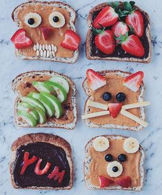 Animal and other fun toast with fruit Breakfast Basket, Breakfast For Kids, Toddler Snacks, Easy Snacks, Healthy Meals For Kids, Kids Meals, Cute Food, Good Food, Baby Food Recipes