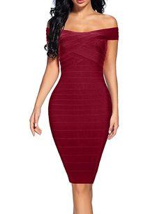 Women s Bandage Dress Off Shoulder Spaghetti Bodycon Club Party Dress  (Burgundy 79a932853