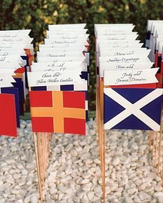 Flagged Seating Display...kind of a cute idea with our international guest list