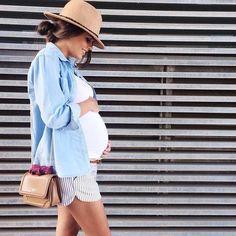 Casual Pregnancy Outfit - Denim Shirt + Shorts