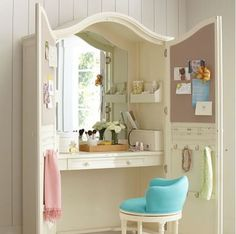 Vanity armoire: What an awesome idea! Want this in my room! Mine out in the room is such a MESS! Furniture Projects, Furniture Makeover, Home Projects, Diy Furniture, Armoire Makeover, Wardrobe Makeover, Bedroom Furniture, Girls Bedroom, Bedroom Decor