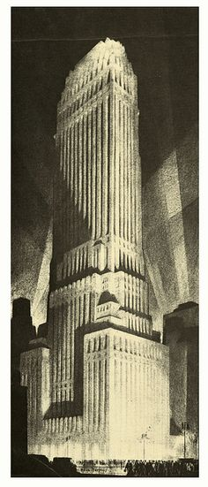 Hugh Ferriss' Art Revisited - Chanin Building, 1929