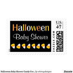 Halloween Baby Shower Candy Corn Postage Stamps