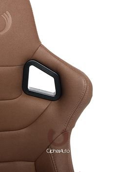 Cipher Euro Racing Seats Mocha Leatherette Carbon Fiber w/ Brown Stitching - Pair