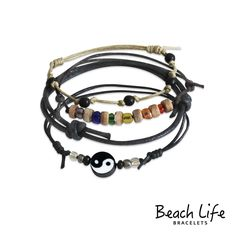Yin Yang Bracelet $14.99 Embrace the balance in the never ending dance of darkness and light. The bold yin yang symbol is strung alongside a collection of rainbow glass beads on knotted cords. Stack up on style with 4 pieces in this FUN beach bracelet set!  • jewelry type - slip knot bracelets  • style - beach, surf, bohemian  • charm bracelet - yin yang  • charm theme - spiritual  • size - adjustable bracelets fit a 6-10 inch wrist  • color - neutrals, rainbow