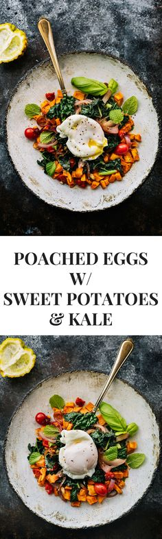 Poached Eggs with Baked Sweet Potatoes and Kale via @thedealmatch