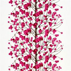 Nature is an inspiration for Erja Hirvi when designing fabrics for the Finnish company Marimekko. Lumimarja fabric is a good example with its branches with snow berries.