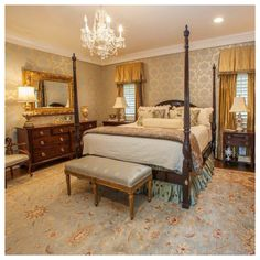 Master bedroom of a Raleigh Client... The wall-covering completing the room
