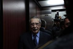 Former Guatemalan dictator Efrain Rios Montt stands in an elevator after a hearing in the Supreme Court of Justice in Guatemala City, February 19, 2013. REUTERS/Jorge Dan Lopez