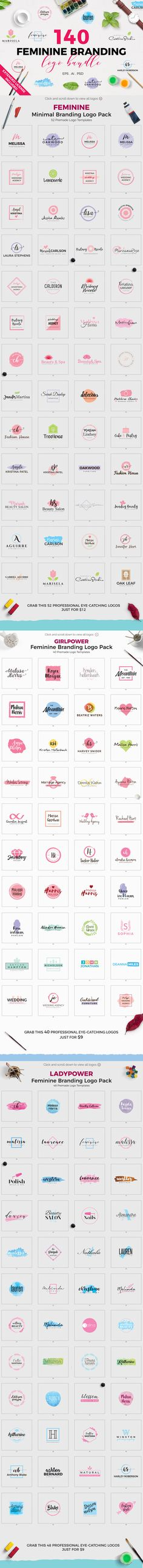 Introducing the 140 Feminine Branding Logo Bundle to different types of professionals for their personal or commercial branding. This high quality premium collection of minimal and feminine premade logos can be used in your website, blog, fashion, magazine, salon, beauty parlor, photography or different types of agency. Every logo is fully editable and very easy to customize. Individual EPS, Ai and PSD files for every logos. Everything is done, just change the name within a minute.  Extended…