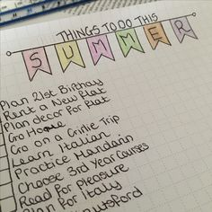 Procrastinating!! Dreaming about summer after the exams are finished. Bullet journal bujo inspiration banner summer bucket list ideas planner