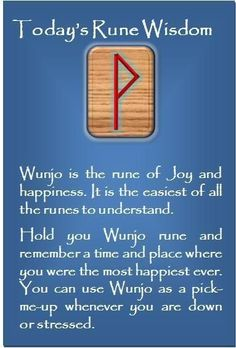 Wunjo - the rune of joy and happiness Rune Symbols, Symbols And Meanings, Viking Symbols, Viking Runes, Celtic Runes, Mayan Symbols, Egyptian Symbols, Viking Art, Wicca Runes