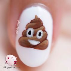 Poop emoji nail art After couple of serious designs, I need me something fun! The poop emoji has alw Nail Art For Kids, Cool Nail Art, Emoji Nails, Animal Nail Art, Liquid Nails, Girls Nails, Nail Manicure, Manicures, Super Nails