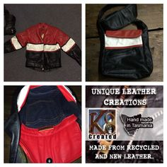 Jacket to bag. Recycle leather. By K8Created in Tasmania