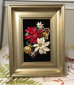Christmas  Vintage Jewelry Floral Art Collage Picture -- Christmas preview by RevivalVtgJewelsArt on Etsy