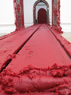 "One of Kapoor's many ""rouge"" based installations, placed directly so viewers are forced to walk over it. -Anish Kapoor rouge. ♥ by #GalerieW 2014"