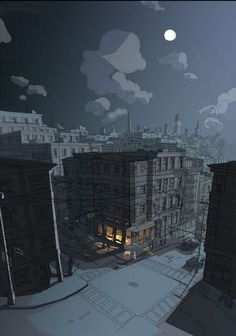 Image result for city night scene concept art