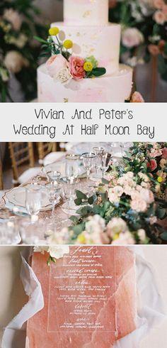 Vivian And Peter's Wedding At Half Moon Bay - Wedding Style - Details Invitation Set, Invitation Design, Country Wedding Cakes, Half Moon Bay, Wedding Cake Flavors, Event Planning, Wedding Styles, Wedding Venues, Homemade