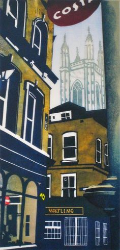 Janet Brooke's City Churches. City Illustration, Graphic Design Illustration, Linocut Prints, Art Prints, London Art, City Art, Urban Art, Architecture Art, Printmaking