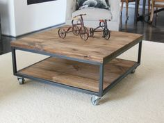 """Square Industrial - modern Coffee Table — 36"""" x 36"""" """" 16"""" tall (or custom sizes by demand)"""
