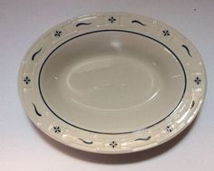 Longaberger Pottery Serving Dish Bowl Oval Woven Traditions Blue   eBay