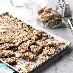 I don't live in the country, but I love everything about it—especially good old-fashioned home cooking! Every year, you'll find me at our county fair, entering a different contest. This easy toffee recipe is a family favorite. —Kathy Dorman, Snover, Michigan 13 Desserts, Potluck Desserts, Potluck Ideas, Health Desserts, Dinner Ideas, Candy Recipes, Holiday Recipes, Dessert Recipes, Nut Recipes
