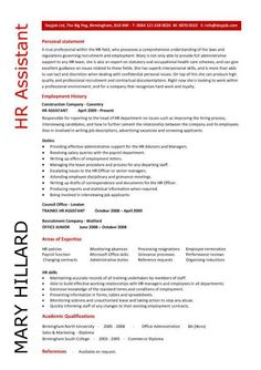 HR Resume Samples | HR Assistant CV 5 HR Assistant cover letter 5