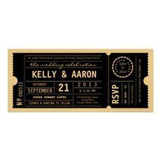 Vintage Playbill Theater Ticket Wedding Invitation. Gold & Black