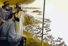 Xerxes observes his naval forces from the throne that he had built on Mount Egaleo.