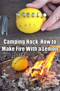 How to Make Fire With a Lemon – Fact or Fiction? Let's See Camping Hack: How to Make Fire With a Lemon (Fact or Fiction?) – I thought this was a pretty clever, although not terribly practical idea. While you may not have these types of items lying around Camping Survival, Camping Hacks, Homestead Survival, Wilderness Survival, Outdoor Survival, Survival Prepping, Emergency Preparedness, Survival Skills, Survival Gear