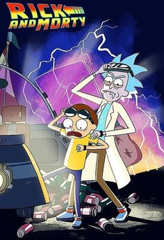 """Oml I love this! """"Back to the future"""" and """"Rick and Morty"""" two of my favorite things. Plus I'm pretty sure """"Rick and Morty"""" was inspired by """"Back to the future"""" Futurama, Trippy Hippie, Games Tattoo, Ricky Y Morty, Rick And Morty Poster, Bd Art, Regular Show, Bttf, Animes Wallpapers"""