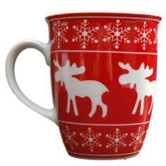 Gisela Graham Red Nordic Christmas Reindeer Snowflake Coffee Mug Cup Decoration Christmas China, Christmas Mugs, Scandinavian Christmas, Little Christmas, Christmas Cookies, Christmas Holidays, Christmas Kitchen, Happy Holidays, Merry Christmas
