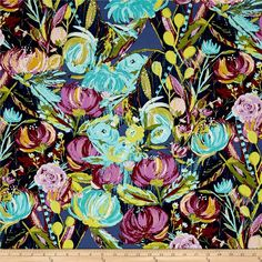 Art Gallery Sage Painted Desert Night from @fabricdotcom  Designed by Bari J. Ackerman for Art Gallery Fabrics, this cotton print fabric features a bold floral print that will have you in the garden planting these colorful blooms. Perfect for quilting, apparel and home decor accents. Art Gallery Fabric features 200 thread count of finely woven cotton. Colors include burgundy, purple, lilac, periwinkle, white, pastel pink, navy, mustard and shades of blue and green.
