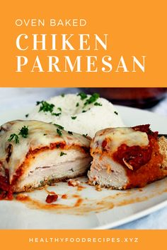 Easy, delicious and savory recipes for oven baked chicken parmesan. Let's try this amazing recipe at your home. Oven Baked Chicken Parm Recipe, Easy Chicken Parmesan Bake, Parmesan Chicken Breast Recipe, Easy Baked Chicken, Yummy Chicken Recipes, Allrecipes, Lemon, Paleo, Mozzarella