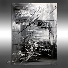 OIL PAINTING Black white Abstract Painting 40 by largeartwork