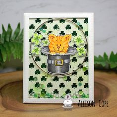 """Patty's Day card by Allison Cope featuring the digi stamp """"St. Patrick's Day Cat and Hat"""" by Gerda Steiner Designs Deco Foil, Happy St Patricks Day, Shaker Cards, Digital Stamps, My Images, I Card, Card Stock, Card Making, Hat"""