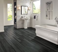 Armstrong Luxury Vinyl Plank Flooring  |  LVP  |  Black Wood look  |  Bathroom Ideas