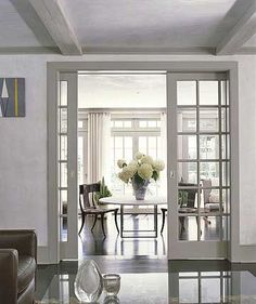 Paned-glass pocket doors