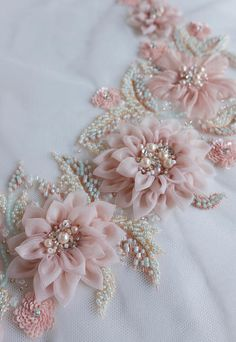 Silk Ribbon Embroidery Flowers Applique in beautiful blush with hand-crafted silk organza flowers - Ribbon Embroidery Tutorial, Silk Ribbon Embroidery, Hand Embroidery Designs, Embroidery Patterns, Embroidery Supplies, Embroidery Thread, Embroidery Applique, Brother Embroidery, Embroidery Bracelets