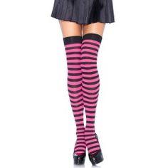 Leg Avenue Gestreepte nylon kousen zwart neon roze - One size - Leg Avenue 0b1030056a