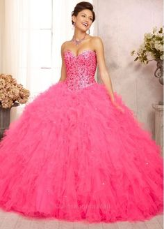 Bright Pink Ruffled Ball Gown with Sequin and Rhinestone Top