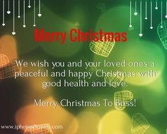 Merry Christmas Messages For Boss 2016