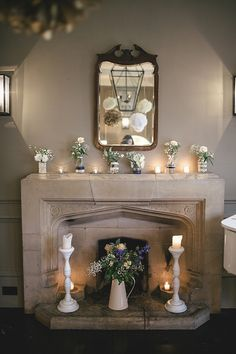 The Fireplace! A Sweet September Wedding With A Touch of 1930's Glamour, Pom Poms, Peach, Gold and Blue