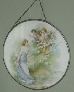ANTIQUE ROUND FLUE COVER METAL FRAME GLASS CHAIN COLOR PRINT CHERUBS &  MAIDEN