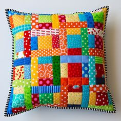 Scrappy Quilted Patchwork Pillow - 16 inch pillow